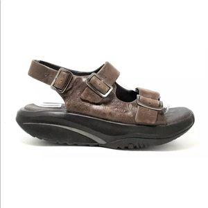 MBT Katika Brown Leather Slingback Toning Sandals